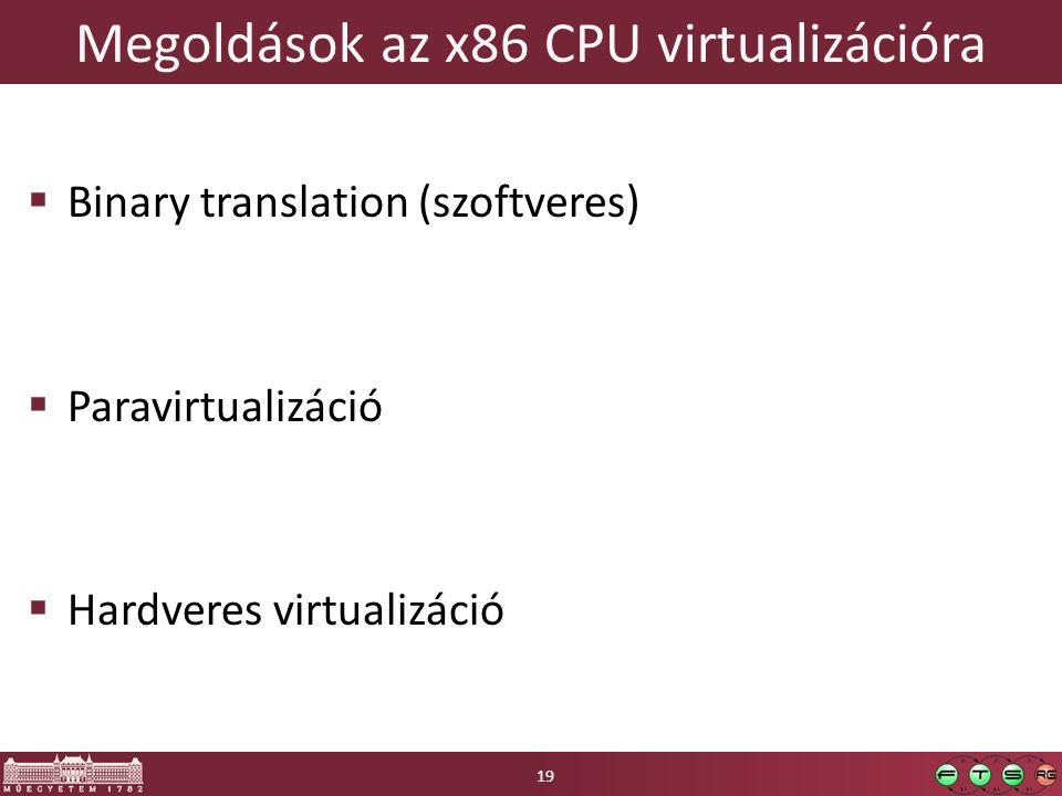 Megoldások az x86 CPU virtualizációra