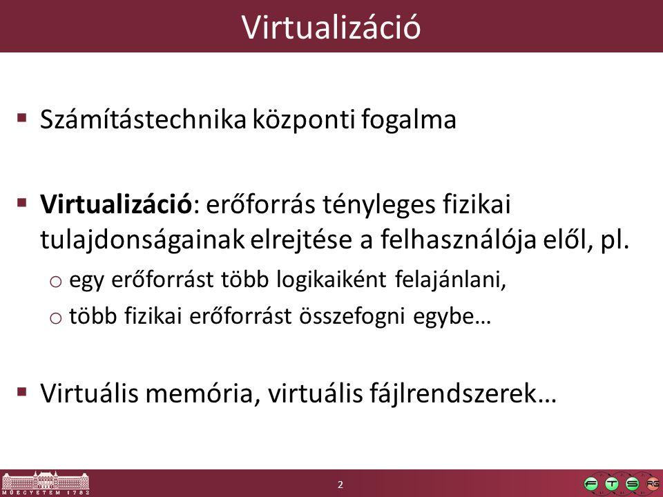Virtualizáció Számítástechnika központi fogalma