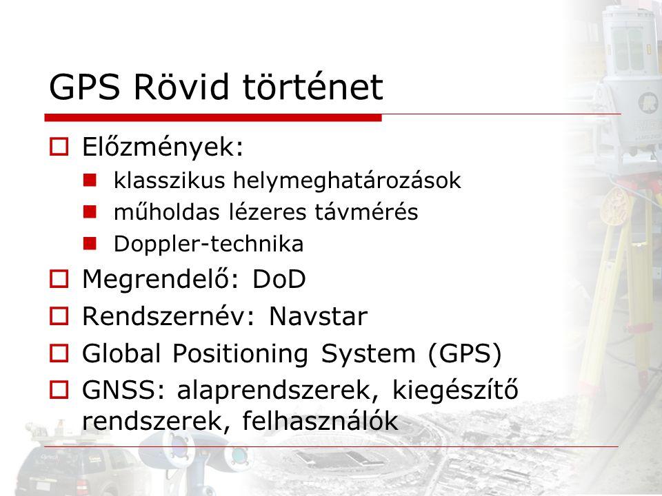 GPS Rövid történet Előzmények: Megrendelő: DoD Rendszernév: Navstar