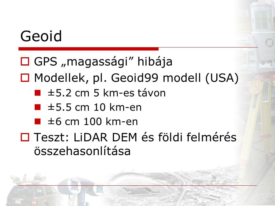 "Geoid GPS ""magassági hibája Modellek, pl. Geoid99 modell (USA)"