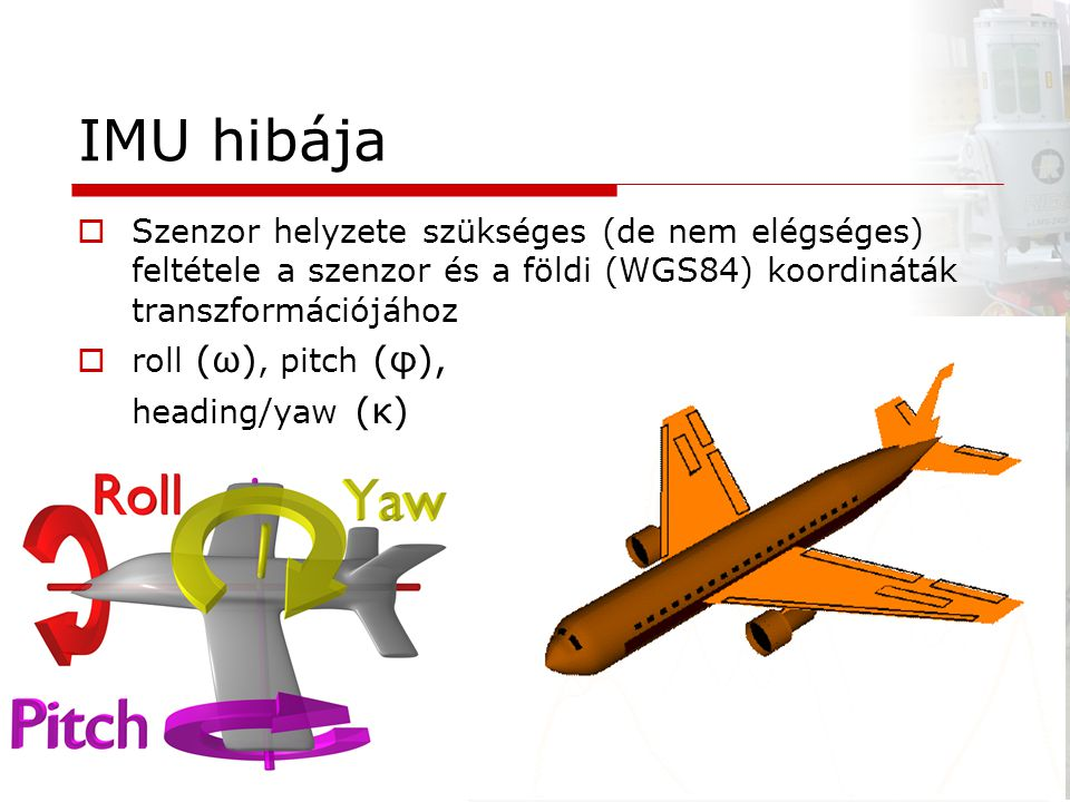 IMU hibája Szenzor helyzete szükséges (de nem elégséges) feltétele a szenzor és a földi (WGS84) koordináták transzformációjához.