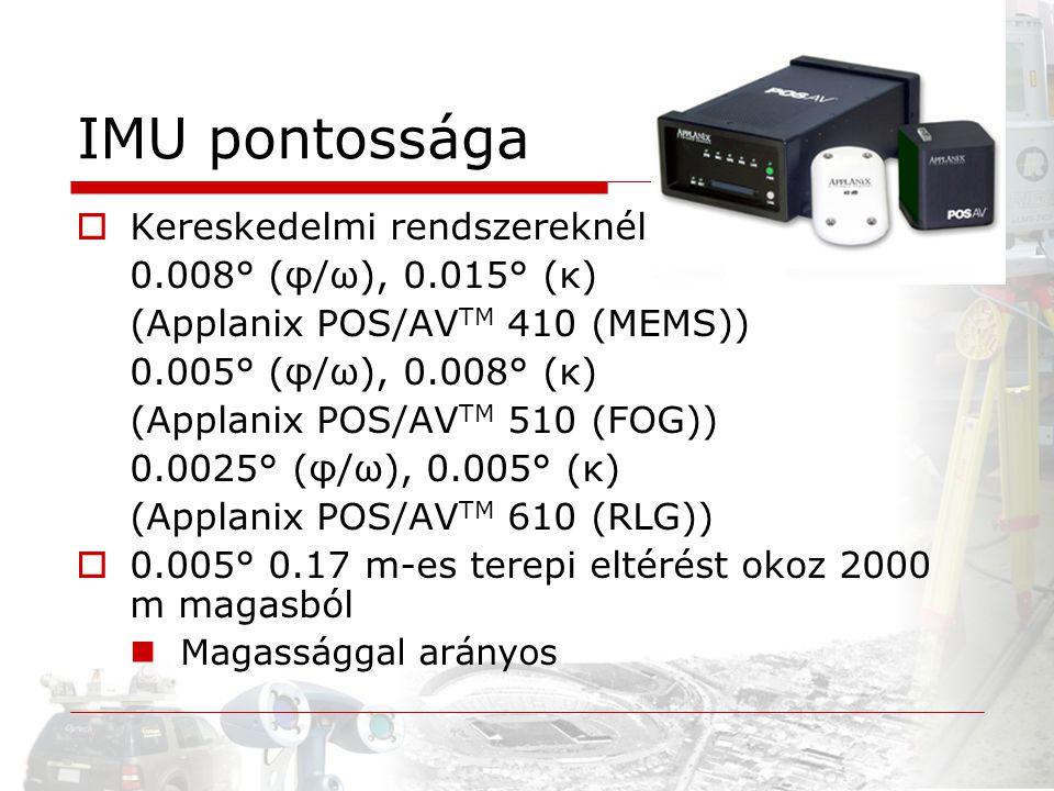 IMU pontossága Kereskedelmi rendszereknél 0.008° (φ/ω), 0.015° (κ)