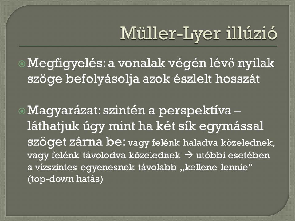 Müller-Lyer illúzió Megfigyelés: a vonalak végén lévő nyilak szöge befolyásolja azok észlelt hosszát.