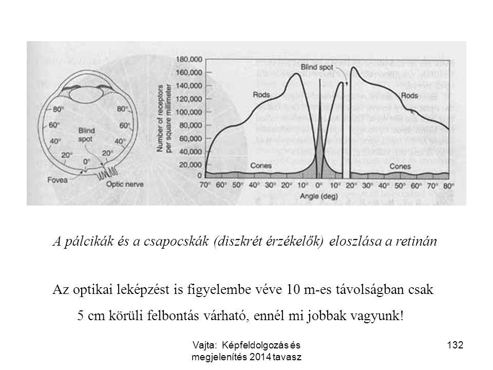 A pálcikák és a csapocskák (diszkrét érzékelők) eloszlása a retinán