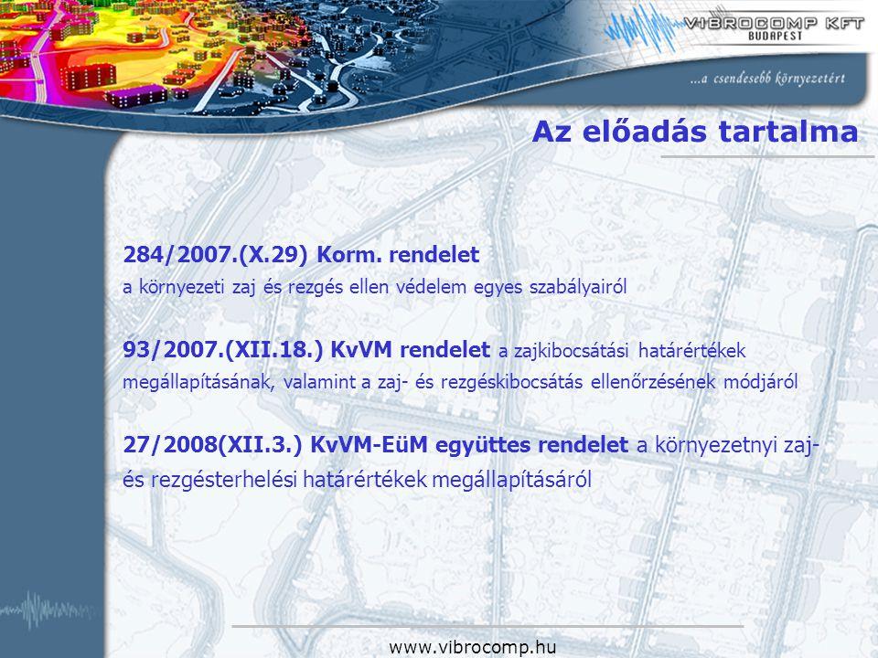 Az előadás tartalma 284/2007.(X.29) Korm. rendelet
