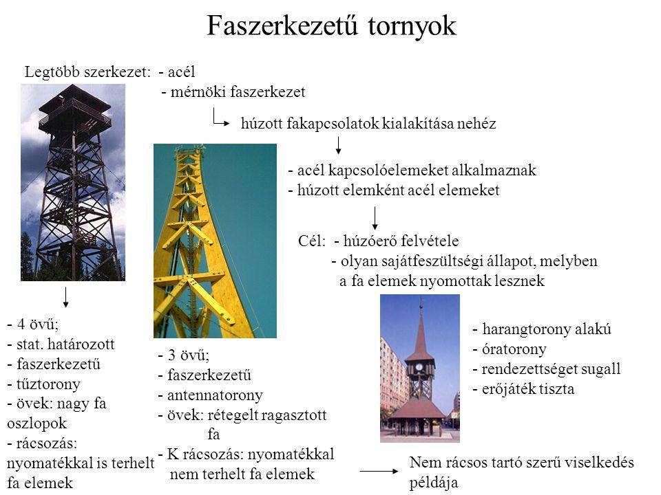 Faszerkezetű tornyok Legtöbb szerkezet: - acél - mérnöki faszerkezet