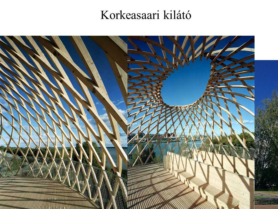 Korkeasaari kilátó Kokkeasaari Sziget, Helsinki mellett. Finnország 2002. 72 db 60x60 mm-es rétegelt ragasztott fa lécek,