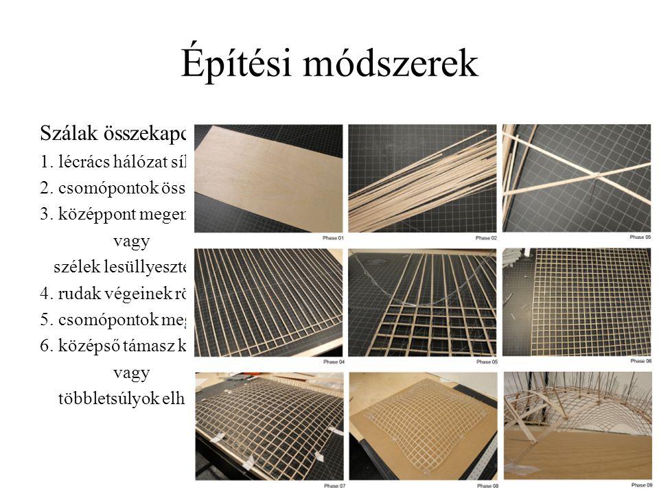 Építési módszerek Szálak összekapcsolása és a teljes szerkezet görbítése, mozgatása.