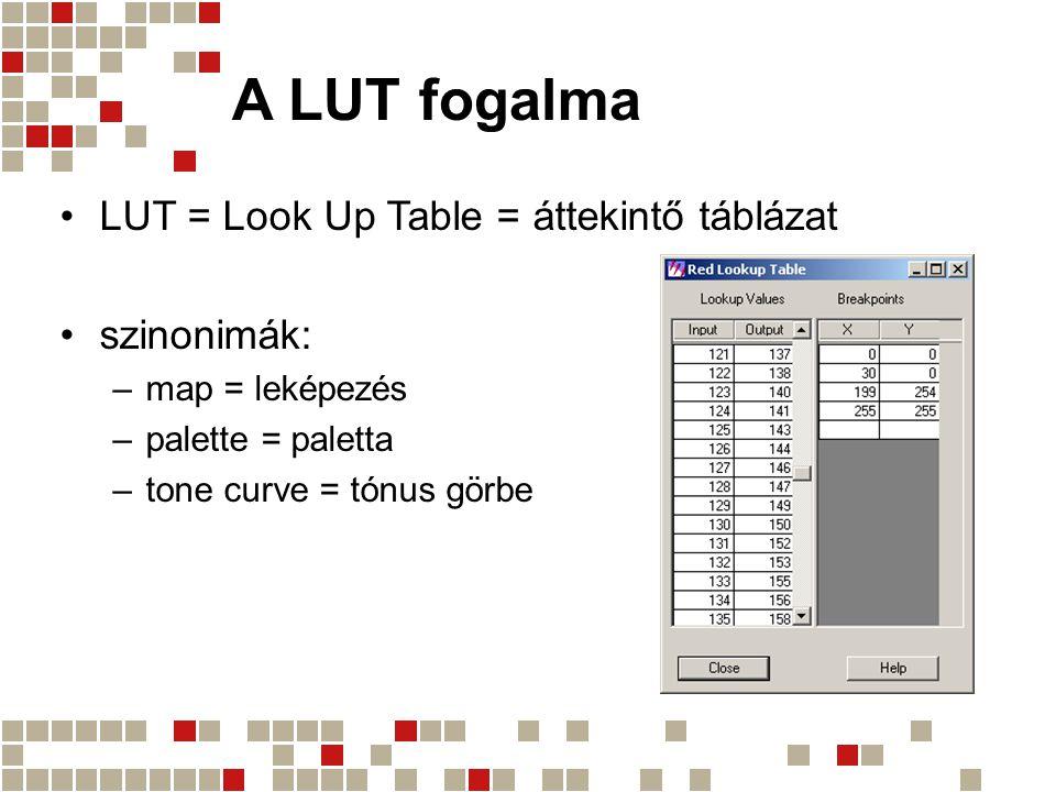A LUT fogalma LUT = Look Up Table = áttekintő táblázat szinonimák:
