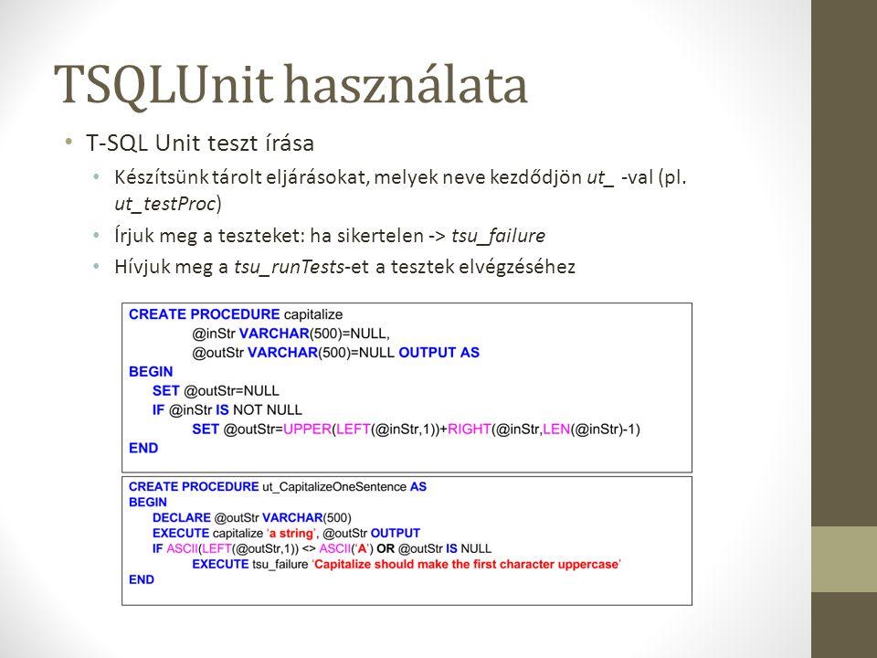 TSQLUnit használata T-SQL Unit teszt írása