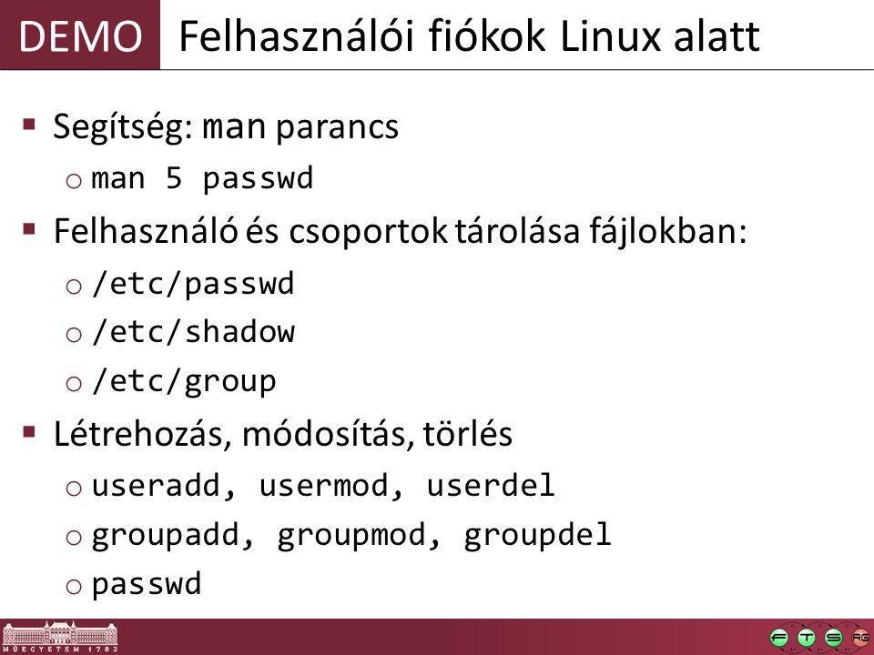 Felhasználói fiókok Linux alatt