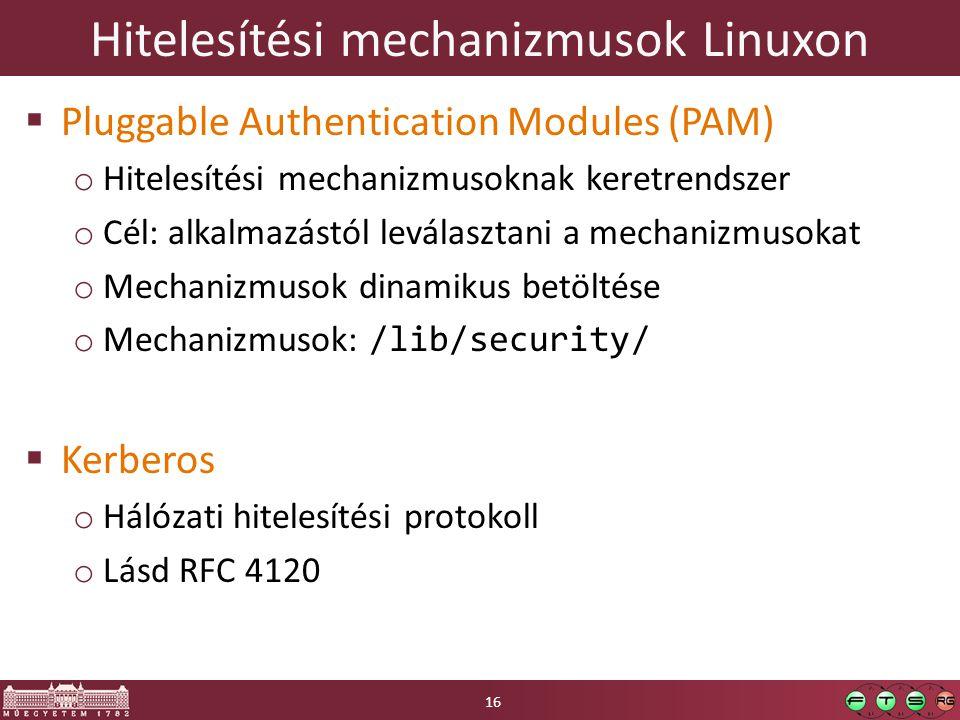 Hitelesítési mechanizmusok Linuxon