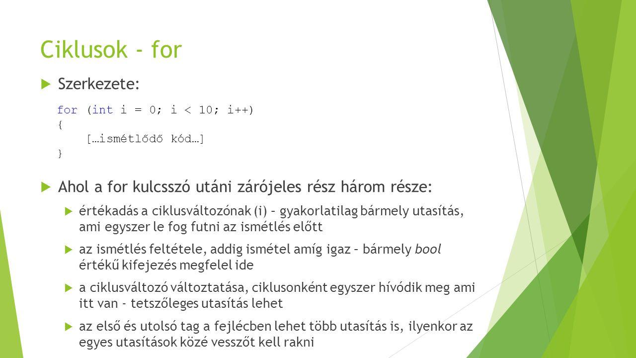 Ciklusok - for Szerkezete: