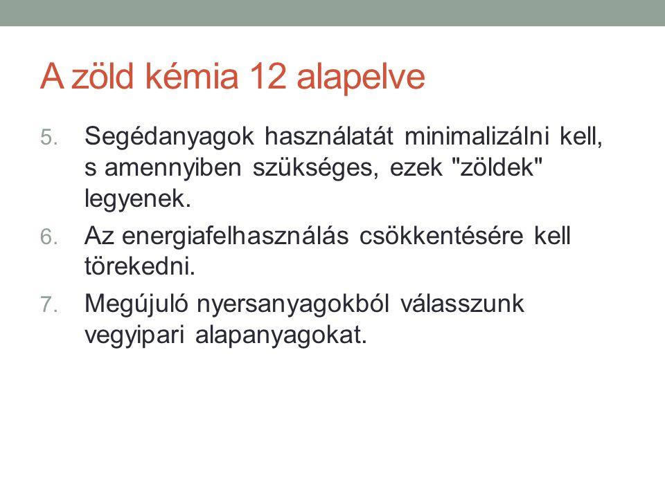 A zöld kémia 12 alapelve Segédanyagok használatát minimalizálni kell, s amennyiben szükséges, ezek zöldek legyenek.