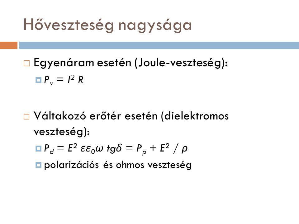 Hőveszteség nagysága Egyenáram esetén (Joule-veszteség):