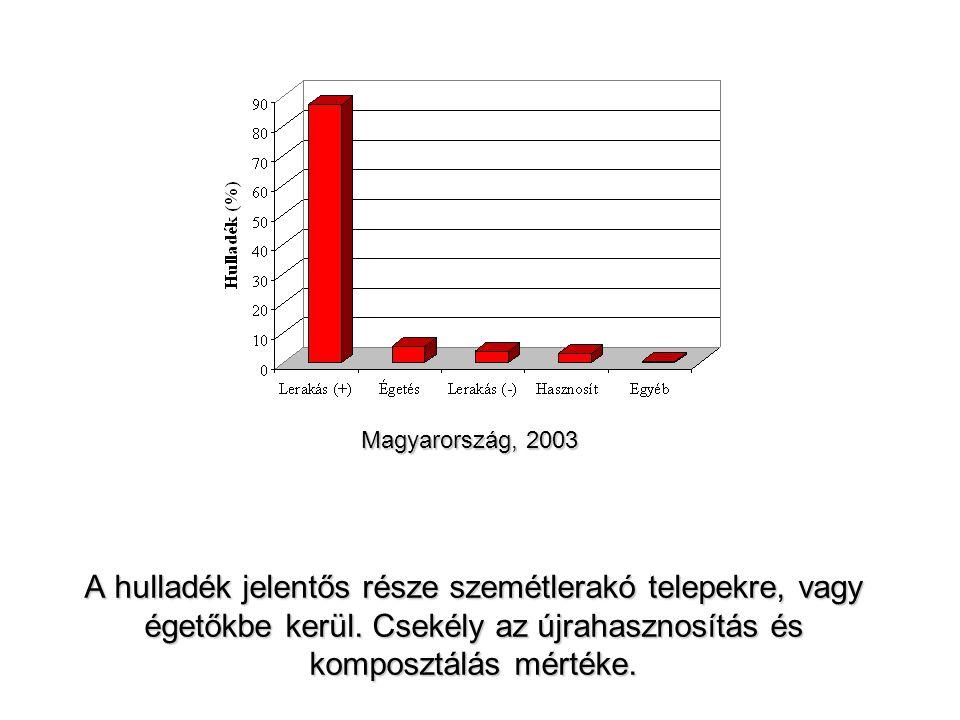 Magyarország, 2003 A hulladék jelentős része szemétlerakó telepekre, vagy égetőkbe kerül.