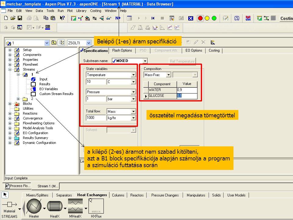 Belépő (1-es) áram specifikáció