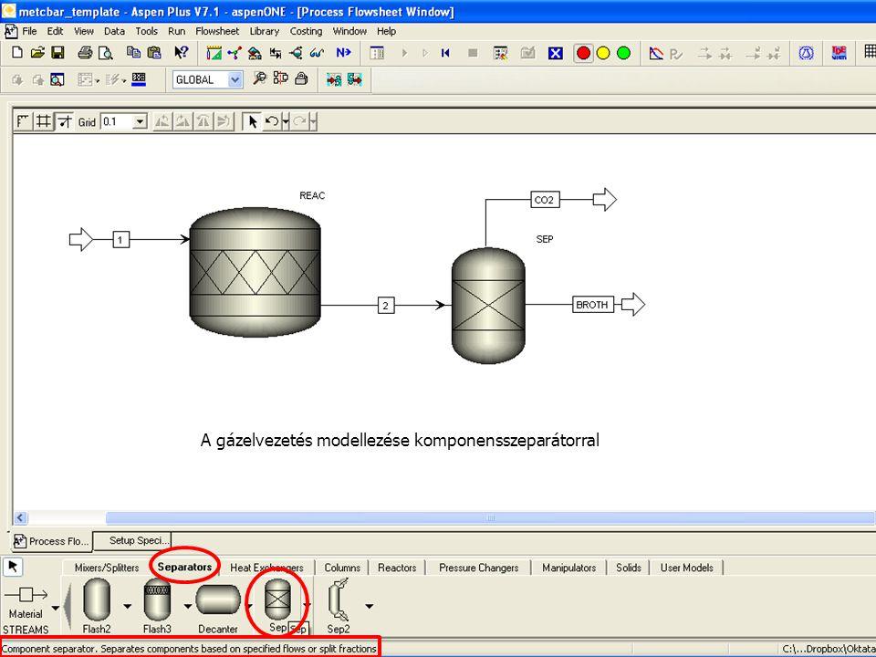 A gázelvezetés modellezése komponensszeparátorral