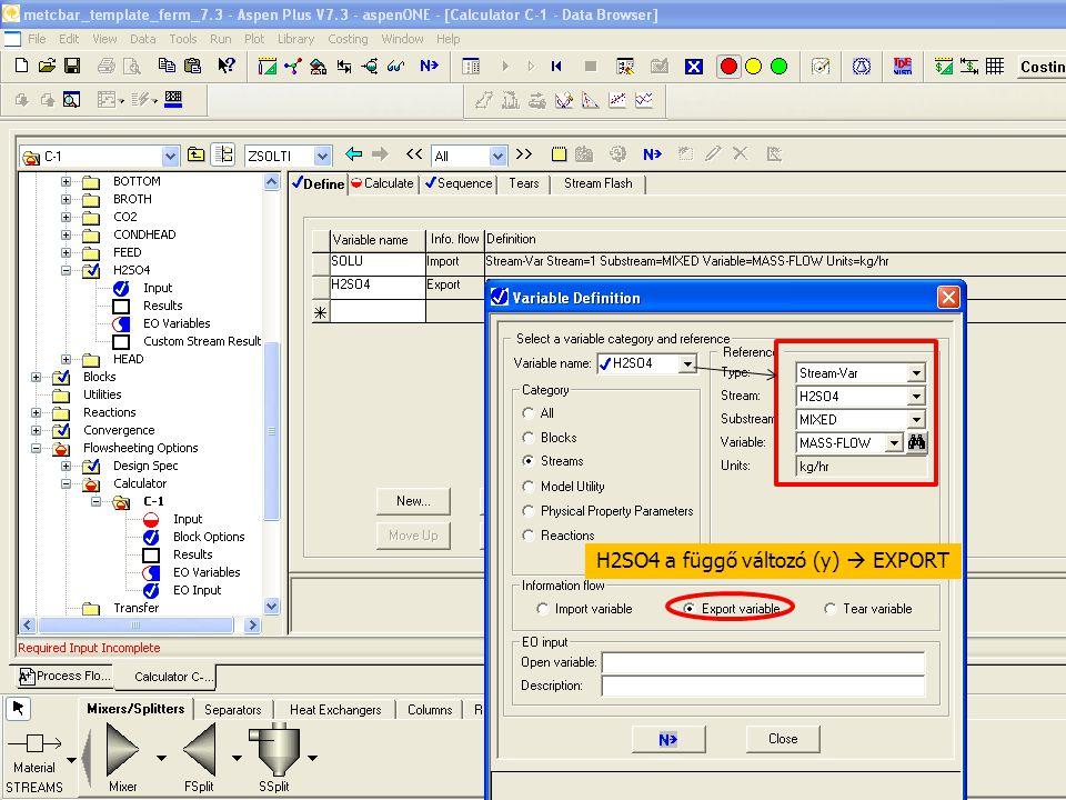 H2SO4 a függő változó (y)  EXPORT