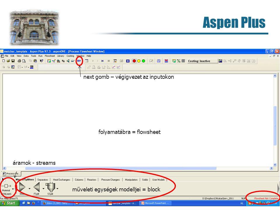 Aspen Plus next gomb – végigvezet az inputokon