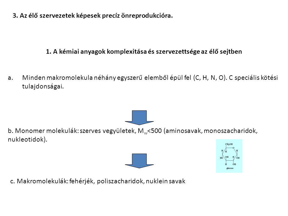1. A kémiai anyagok komplexitása és szervezettsége az élő sejtben