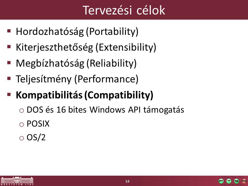 Tervezési célok Hordozhatóság (Portability)