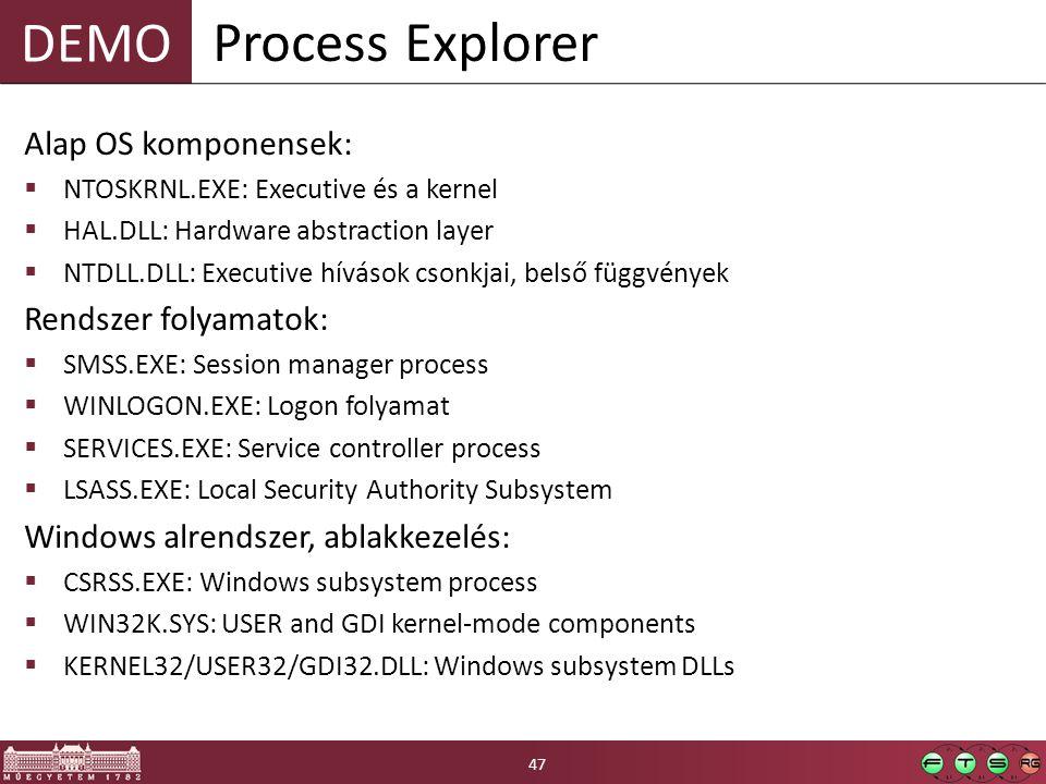 Process Explorer Alap OS komponensek: Rendszer folyamatok: