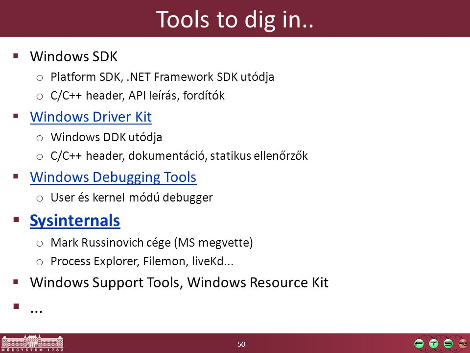 Tools to dig in.. Sysinternals ... Windows SDK Windows Driver Kit