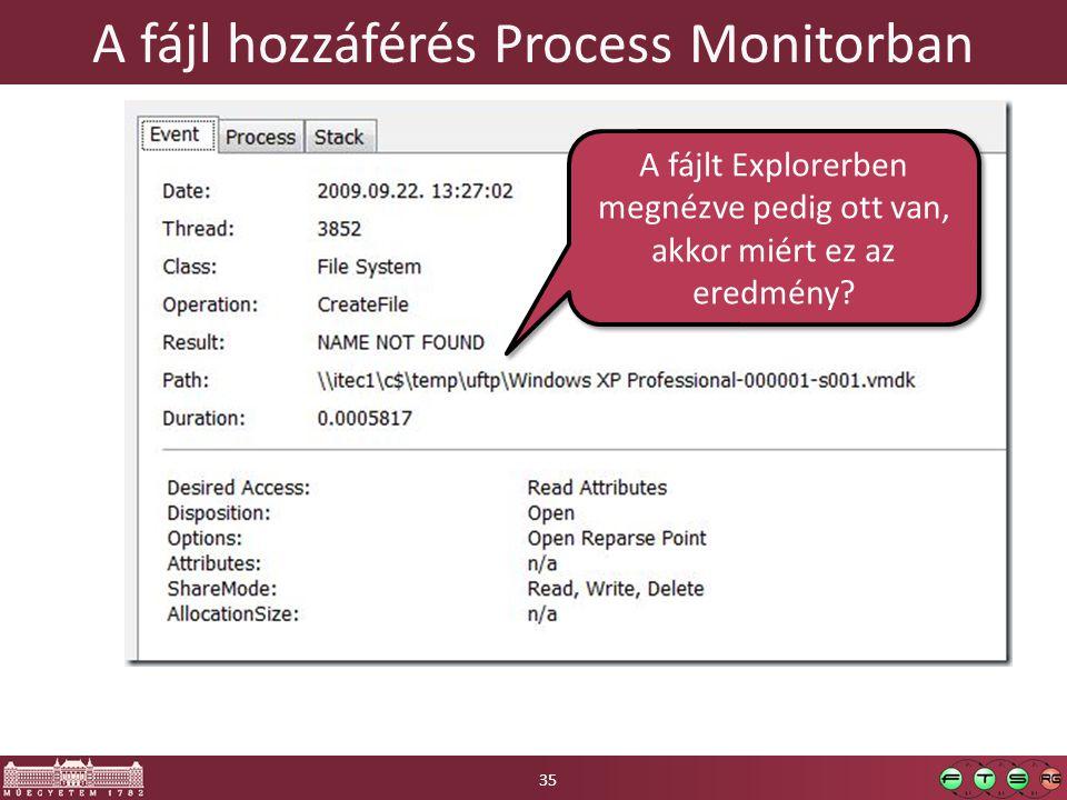 A fájl hozzáférés Process Monitorban