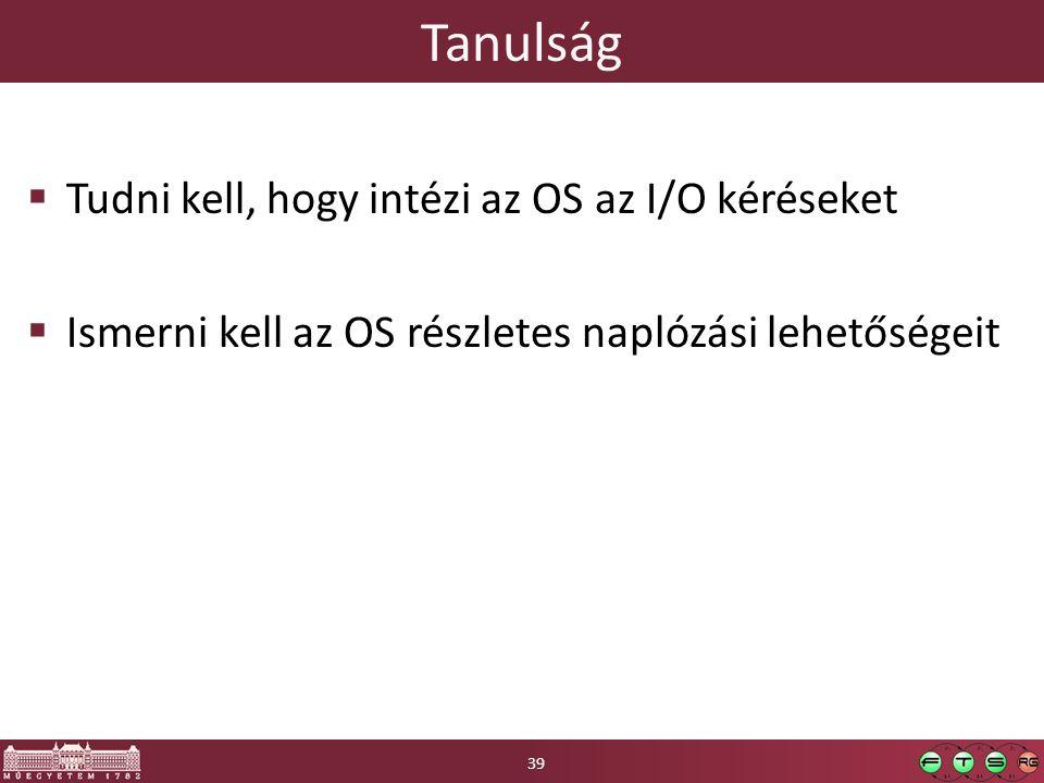 Tanulság Tudni kell, hogy intézi az OS az I/O kéréseket