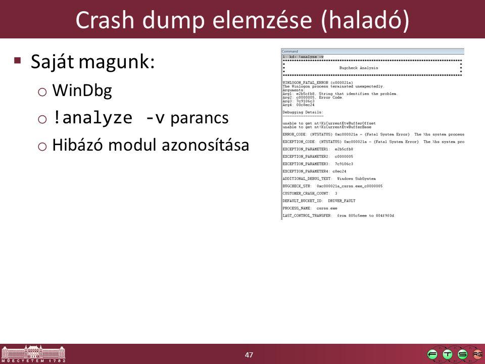 Crash dump elemzése (haladó)