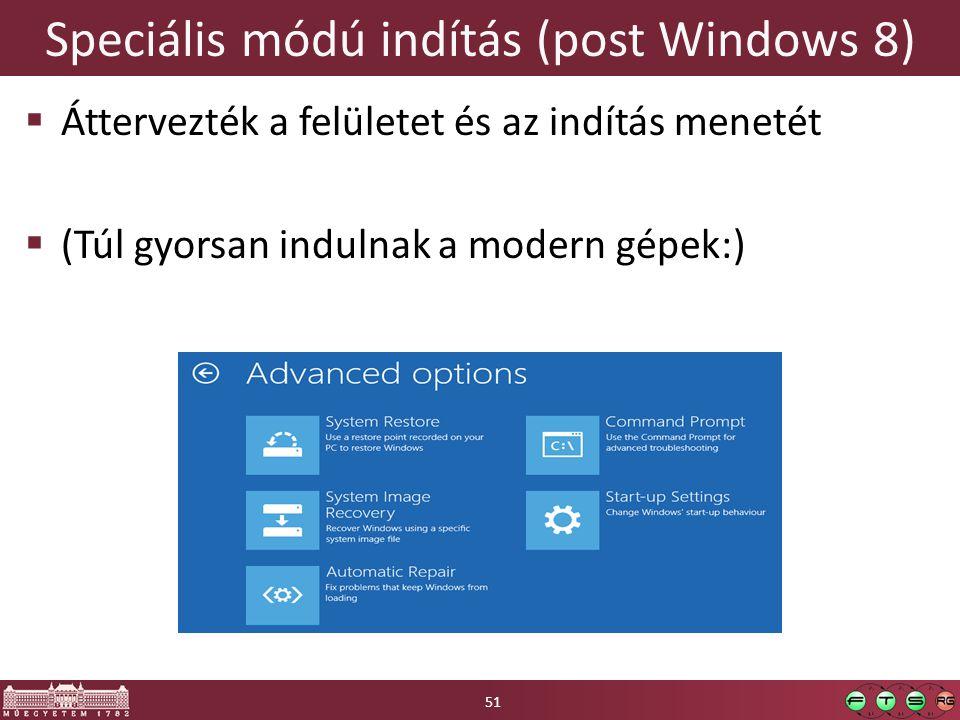 Speciális módú indítás (post Windows 8)