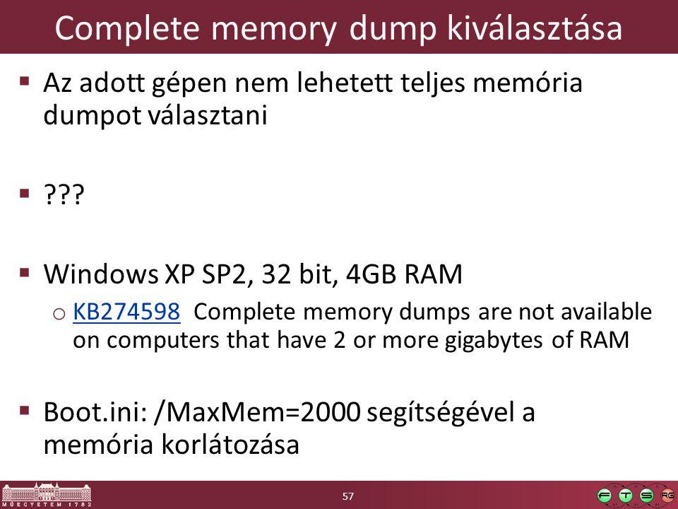 Complete memory dump kiválasztása
