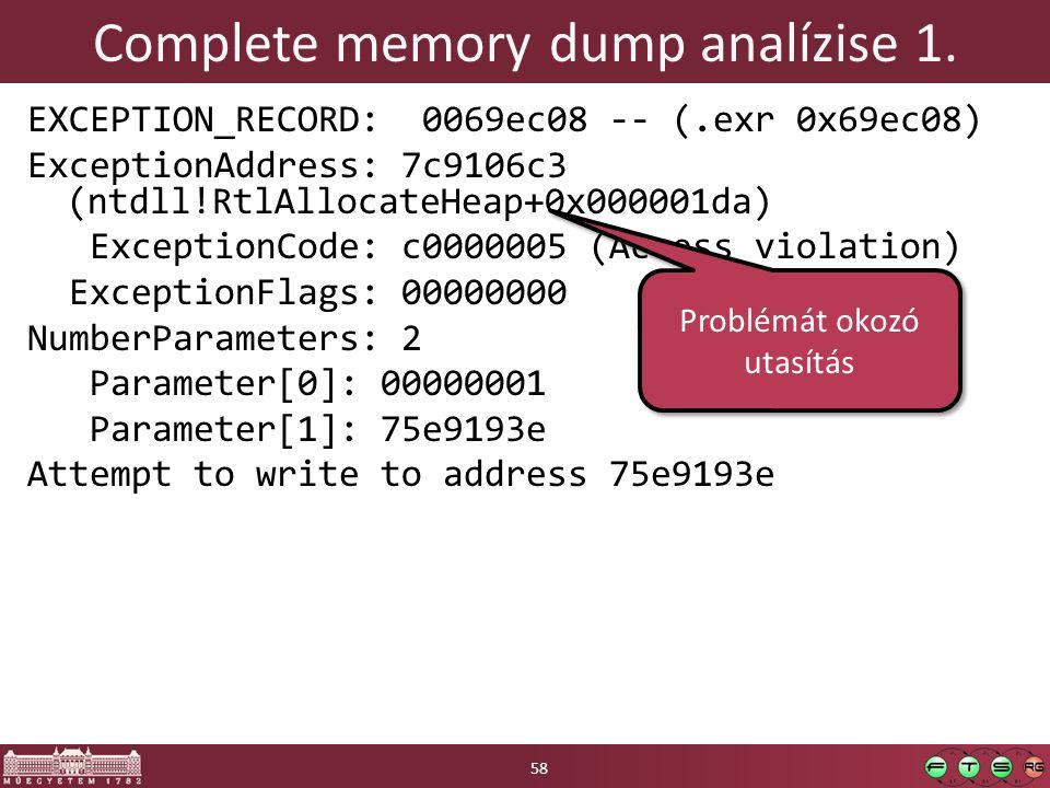 Complete memory dump analízise 1.