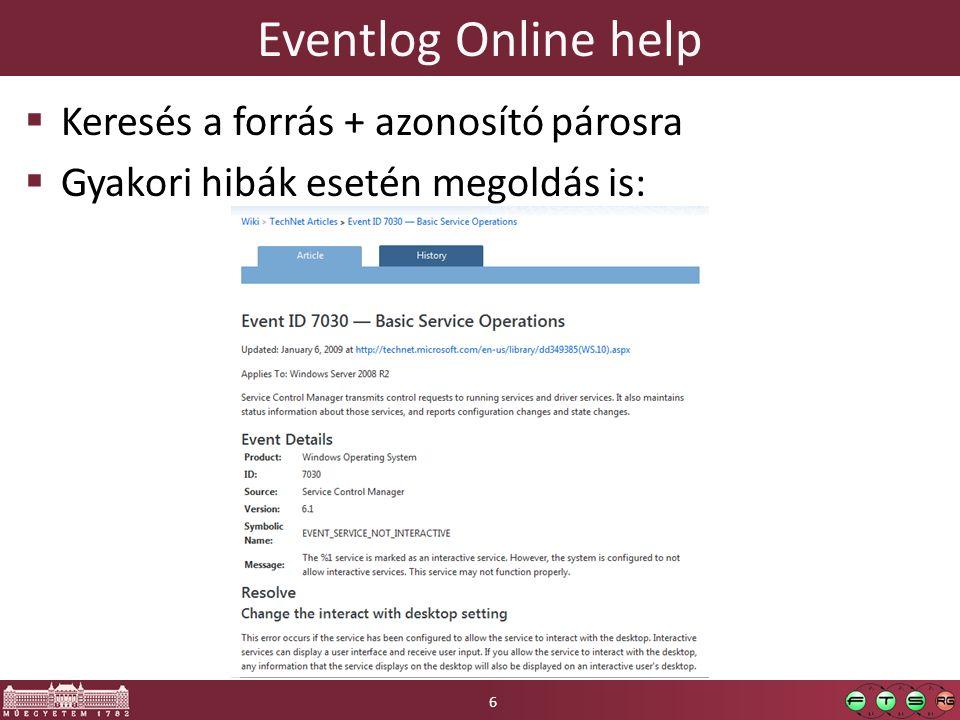 Eventlog Online help Keresés a forrás + azonosító párosra