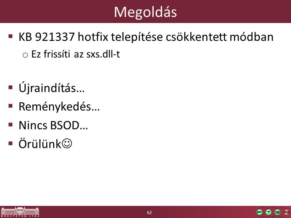 Megoldás KB 921337 hotfix telepítése csökkentett módban Újraindítás…
