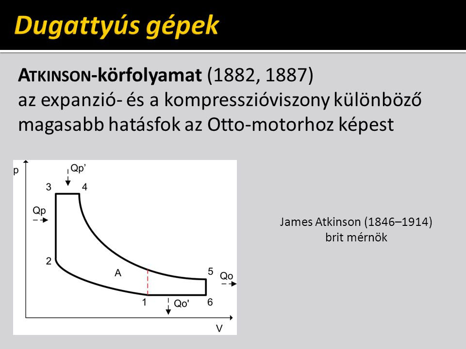 Dugattyús gépek Atkinson-körfolyamat (1882, 1887) az expanzió- és a kompresszióviszony különböző magasabb hatásfok az Otto-motorhoz képest