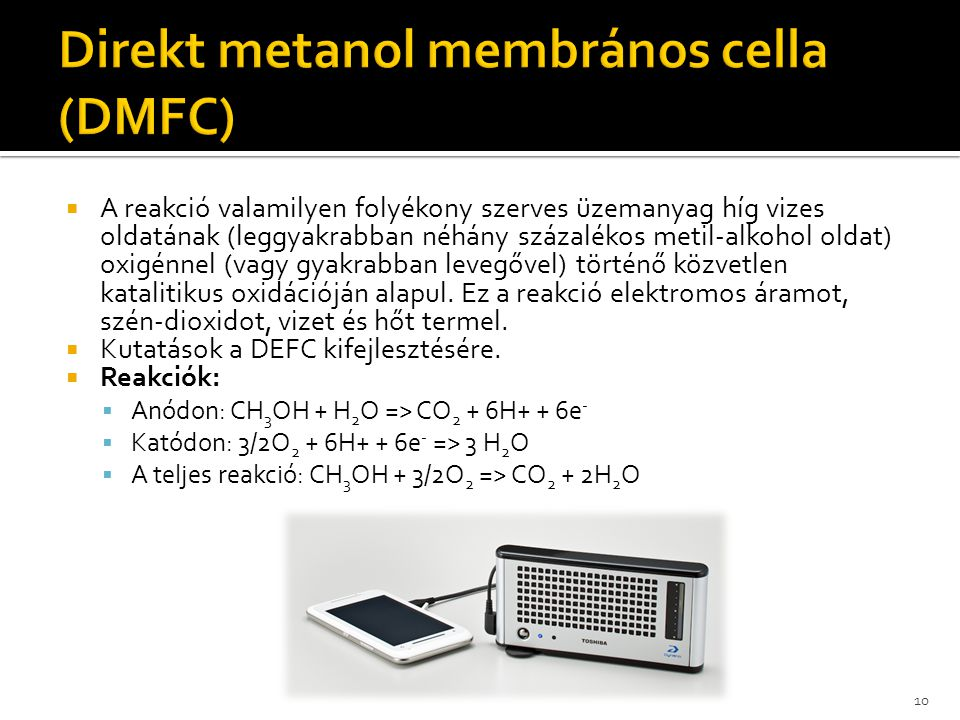 Direkt metanol membrános cella (DMFC)