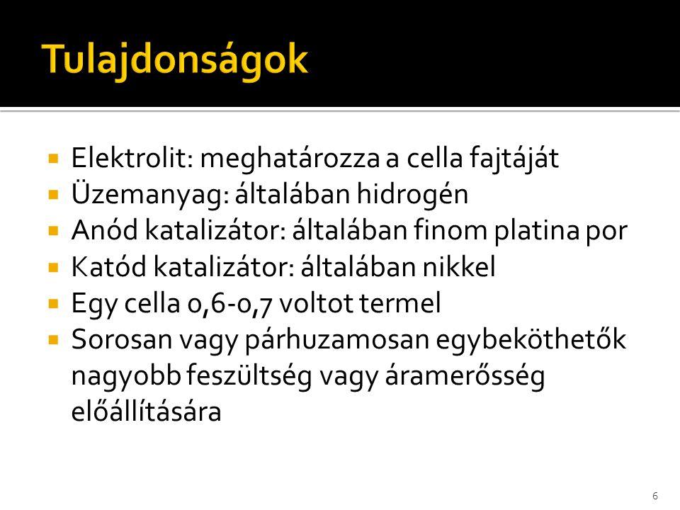 Tulajdonságok Elektrolit: meghatározza a cella fajtáját