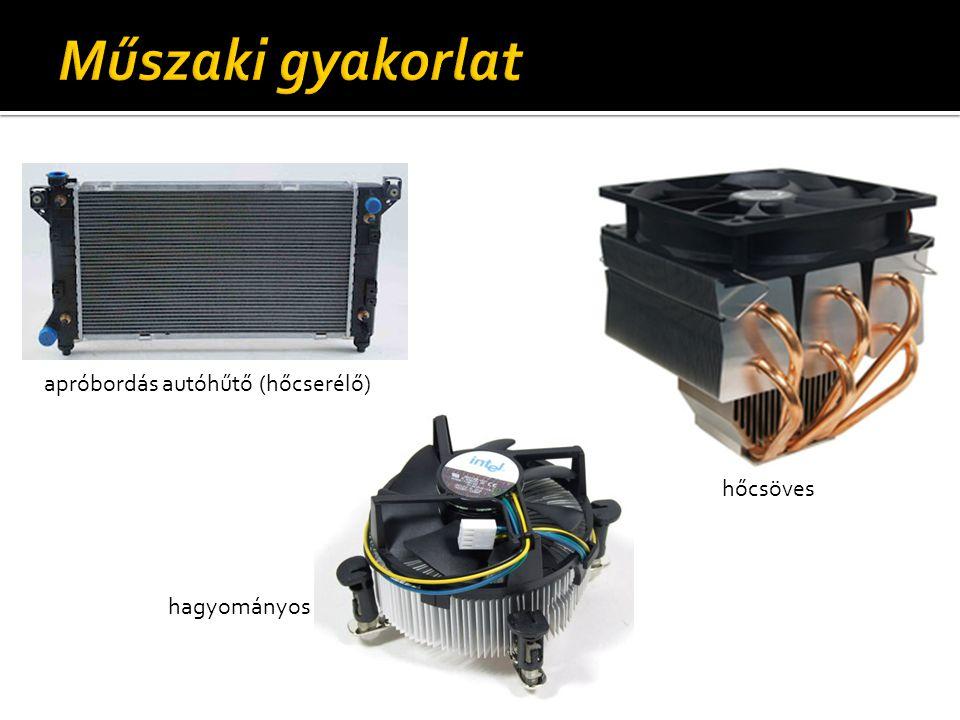 Műszaki gyakorlat apróbordás autóhűtő (hőcserélő) hőcsöves hagyományos