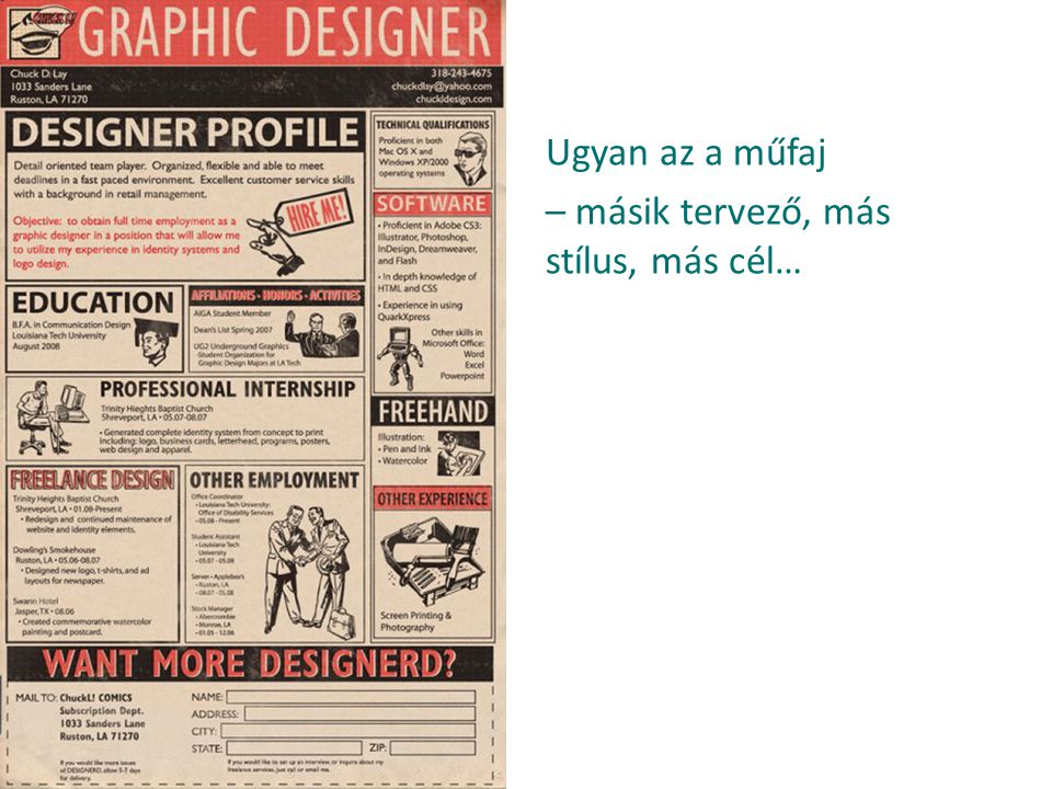 Ugyan az a műfaj – másik tervező, más stílus, más cél…