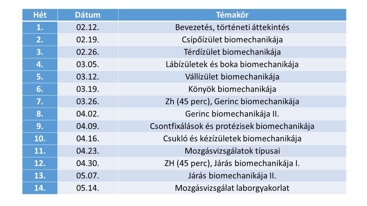 Bevezetés, történeti áttekintés 2. 02.19. Csípőízület biomechanikája