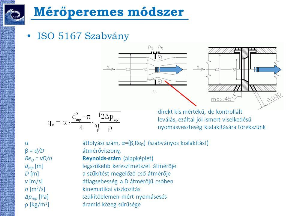 Mérőperemes módszer ISO 5167 Szabvány