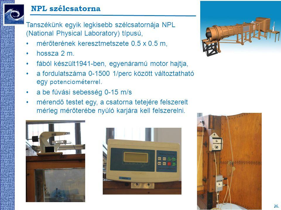NPL szélcsatorna Tanszékünk egyik legkisebb szélcsatornája NPL (National Physical Laboratory) típusú,