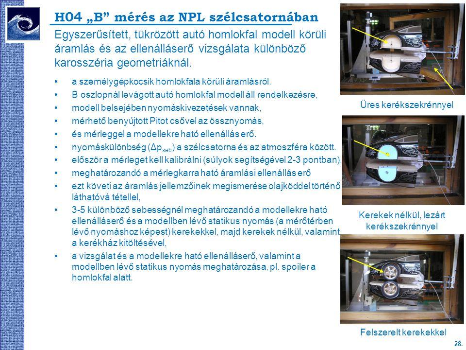 """H04 """"B mérés az NPL szélcsatornában"""