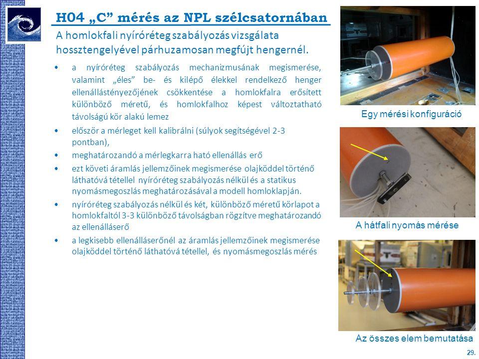 """H04 """"C mérés az NPL szélcsatornában"""