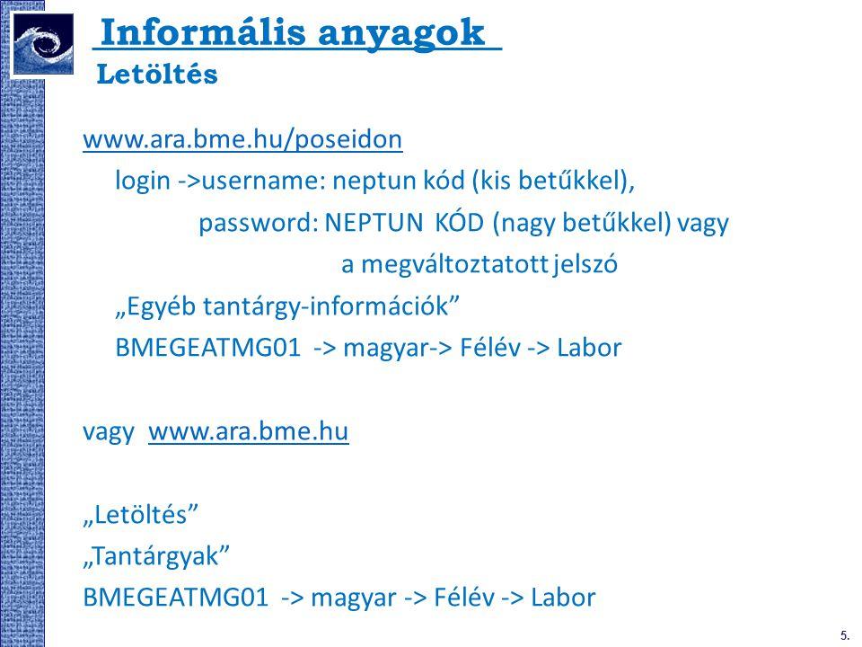 Informális anyagok Letöltés www.ara.bme.hu/poseidon