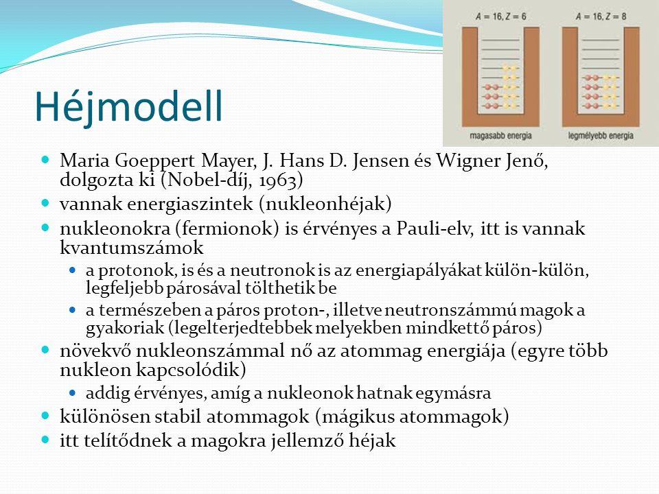 Héjmodell Maria Goeppert Mayer, J. Hans D. Jensen és Wigner Jenő, dolgozta ki (Nobel-díj, 1963) vannak energiaszintek (nukleonhéjak)