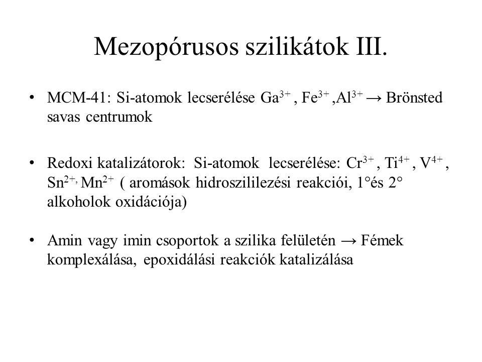 Mezopórusos szilikátok III.