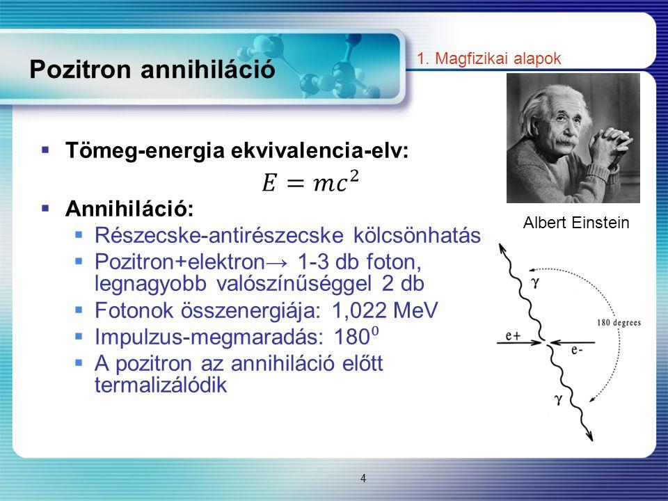 Pozitron annihiláció Tömeg-energia ekvivalencia-elv: Annihiláció: